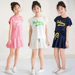 字母印花上衣+純色裙褲二件套
