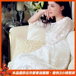 宮廷風名媛款蕾絲白色睡衣