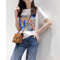 長頸鹿圖案絲光棉短袖T恤