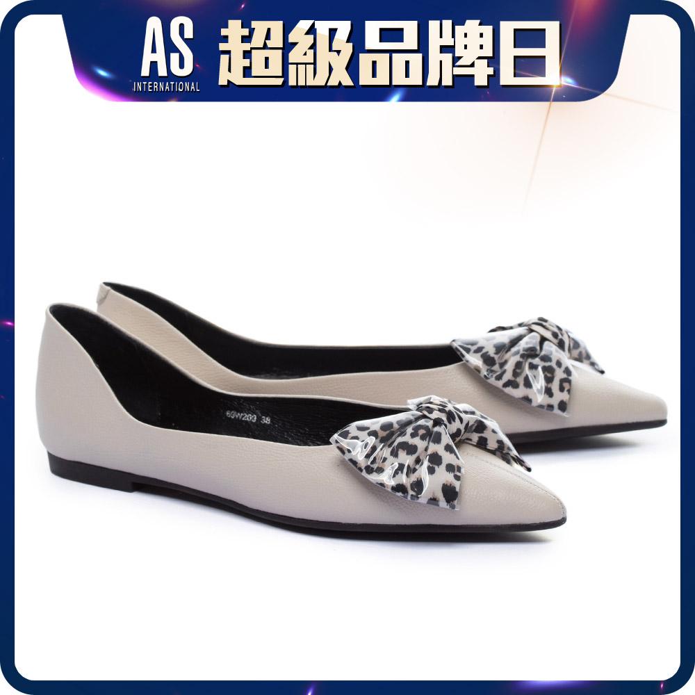 豹紋蝴蝶結真皮平底鞋