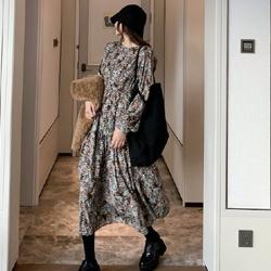 經典復古碎花寬鬆長洋裝