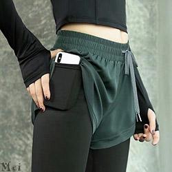 假兩件口袋抽繩瑜伽褲【3色S~XL】