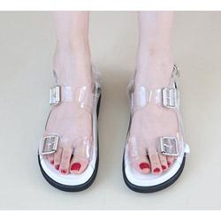 透明PVC 4.5cm氣墊勃肯涼鞋