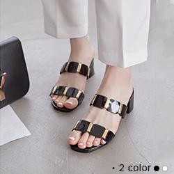 韓國簡約金屬鍊粗跟涼拖鞋