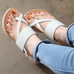 大拇指交叉造型4cm氣墊防滑涼鞋