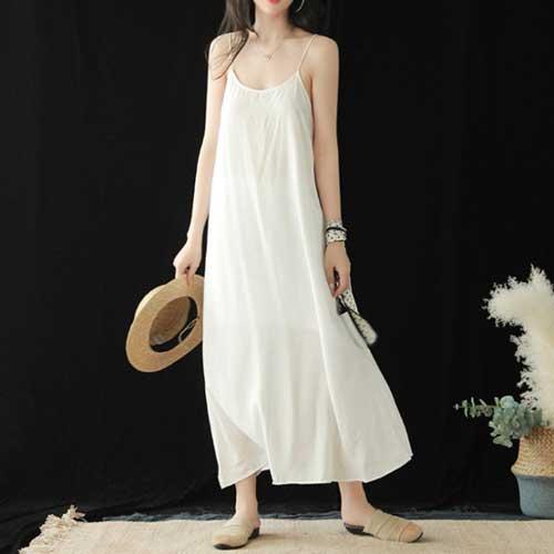 寬鬆休閒細肩帶連身裙(6色)