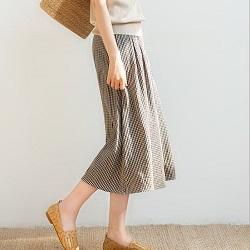 日系復古格紋長裙