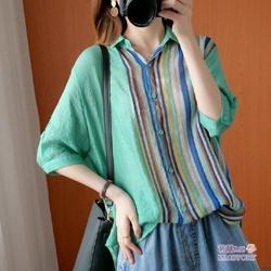 清涼淡綠中袖棉麻襯衫