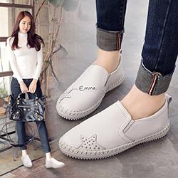 真皮鏤空條紋厚底休閒鞋
