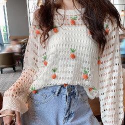 韓鏤空針織衫