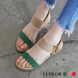 正韓撞色寬帶楔型鞋