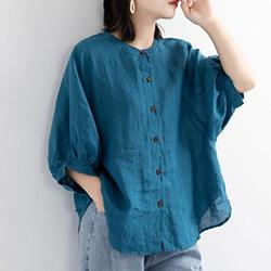 燈籠袖復古寬鬆棉麻衫