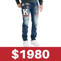 AE凱斯哈林 聯名塗鴉刺繡牛仔褲