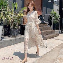 韓版小清新V領收腰甜美雪紡洋裝