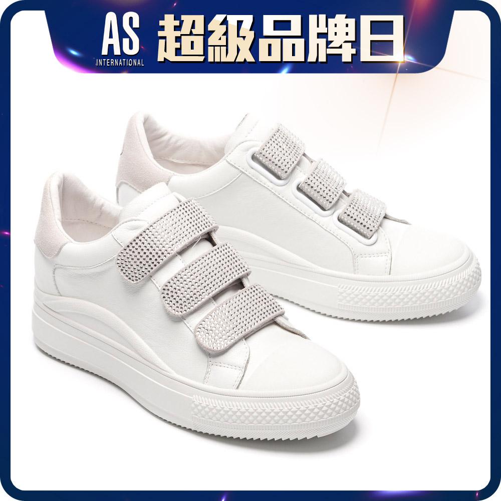 水鑽條帶真皮厚底鞋