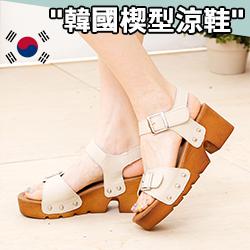 正韓雙釦楔型涼鞋