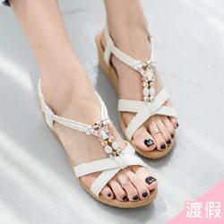 正韓波西米亞寶石涼鞋