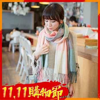 韓版加厚格子圍巾