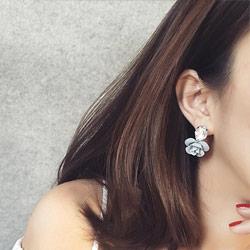 名媛水晶立體花朵耳環