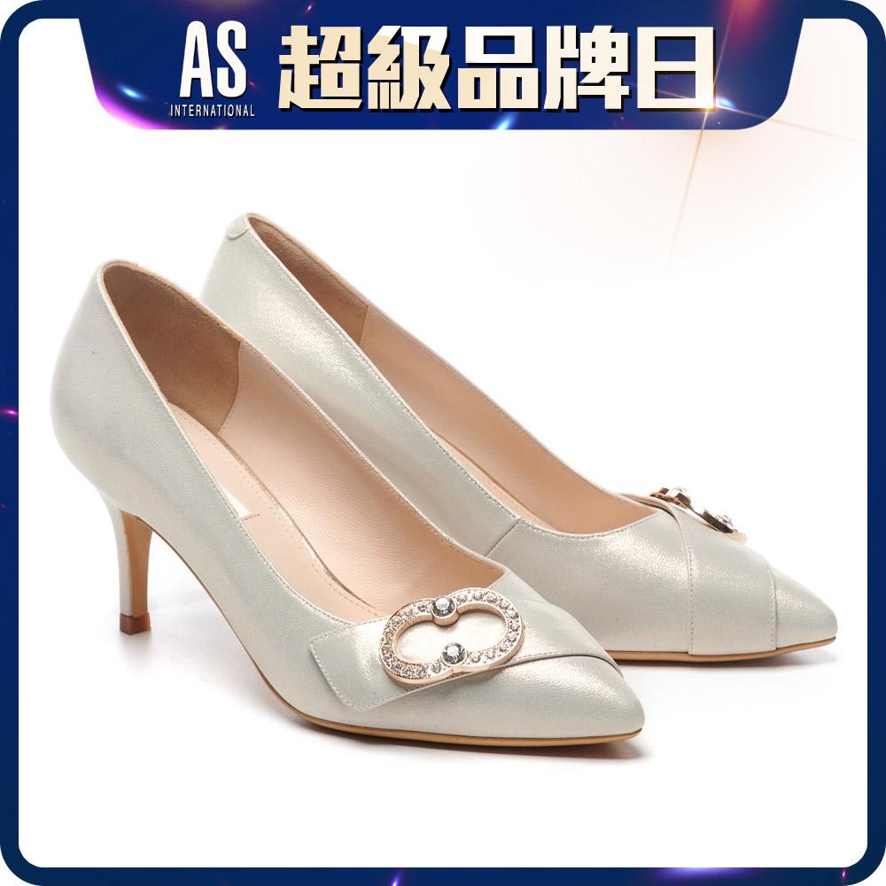 金屬鑽飾羊皮尖頭高跟鞋