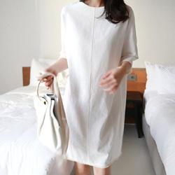 線條美感中袖流蘇邊連身裙
