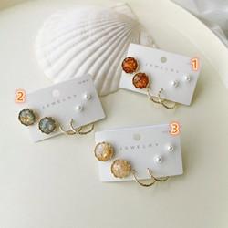 氣質復古珍珠圓片6件套耳環