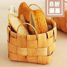 原木木片編織雙耳收納籃