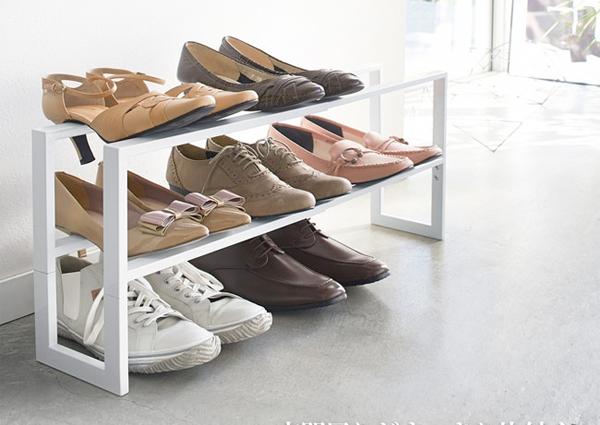 日本 YAMAZAKI - LINE伸縮式三層鞋架(白)