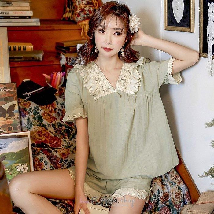美人蕾絲甜美系棉質居家服套裝