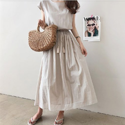 簡約法式收腰棉麻連衣裙