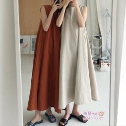 無袖棉麻連身裙