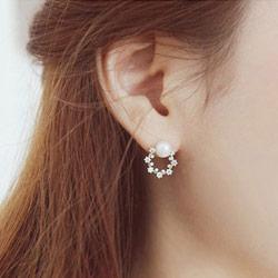 純銀珍珠花朵耳環