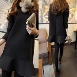 黑色魚尾裙長袖洋裝