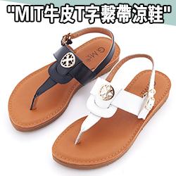 MIT 全真皮T字涼鞋