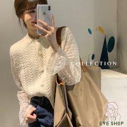 韓國訂單工廠直發-手工鉤花針織背心蕾絲衫