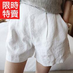 簡約棉麻純色鬆緊短褲
