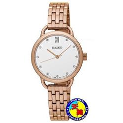范倫鐵諾玫瑰金防水石英錶