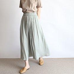 正韓質感光澤鬆緊腰帶長裙