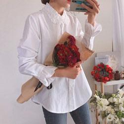 正韓法式蕾絲領荷葉袖開扣襯衫上衣