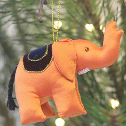Upcycled fabric elephants