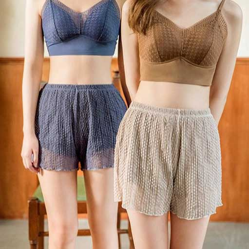 日韓美人泡泡料蕾絲雙層內搭褲