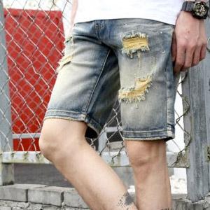 復古水洗磨邊破壞油漆點嚴選牛仔短褲