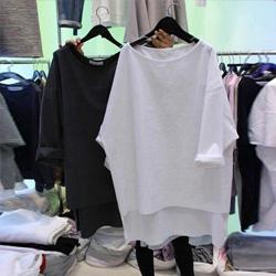 純棉寬鬆長版五分袖T恤