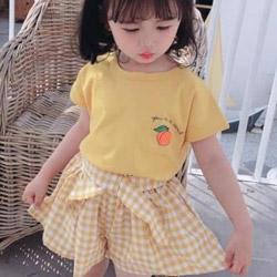 甜美小桃子黃色短袖上衣