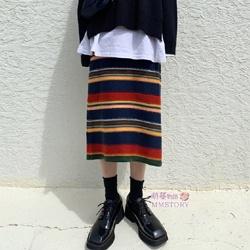 彩紅條針織裙