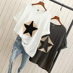 大碼純棉竹節顯瘦星星貼布潮流短袖