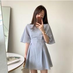 法式休閒V領洋裝