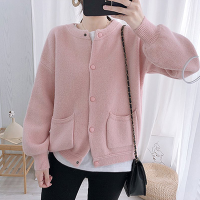 韓國細緻手感摁扣毛衣外套