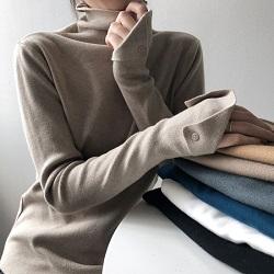 百搭純色彈力高領針織衫
