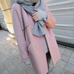 韓國優雅裸粉60%羊毛外套